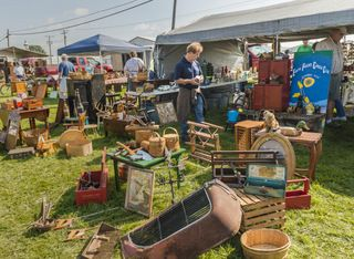 Antiques and Primitives for sale under tents at the annual Shipshewana Antique Market