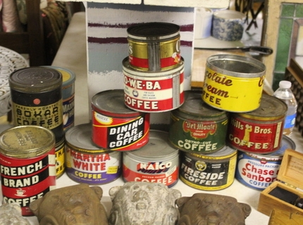 Vintage Coffee Cans at Shipshewana Auction September 28, 2016