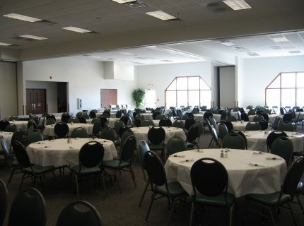 Shipshewana's Farmstead Inn Conference Center interior banquet room