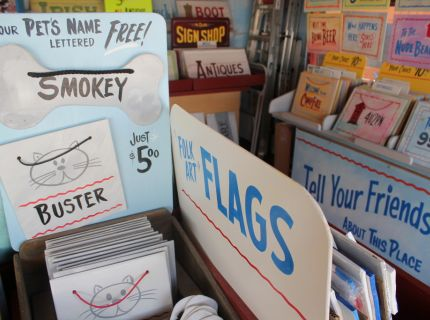 Hnad-lettered Sign Display by George the Sign Painter at Shipshewana Flea Market