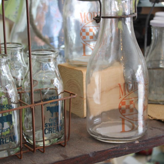 Milk Bottles for sale at flea market in Shipshewana Indiana