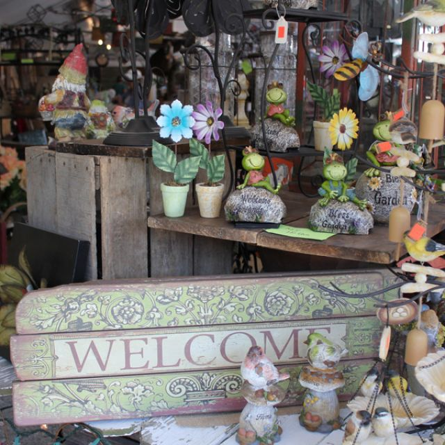 Welcome Sign and Home Decor at Shipshewana Flea Market in Shipshewana, Indiana