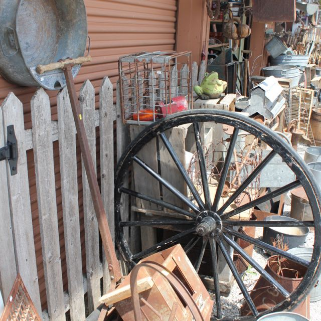 Primitives and wagon wheel for sale at Shipshewana Flea Market
