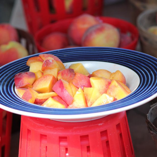 Sample of Michigan red haven peaches at Shipshewana Flea Market