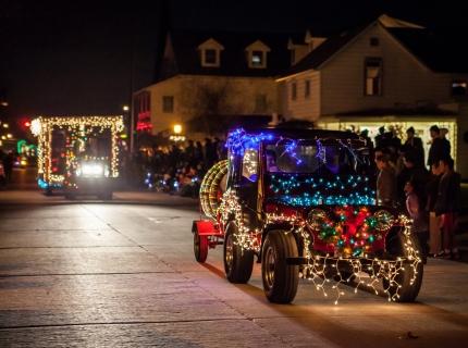 Light Parade floats go down Main Street for the annual Christmas Shipshewana Light Parade