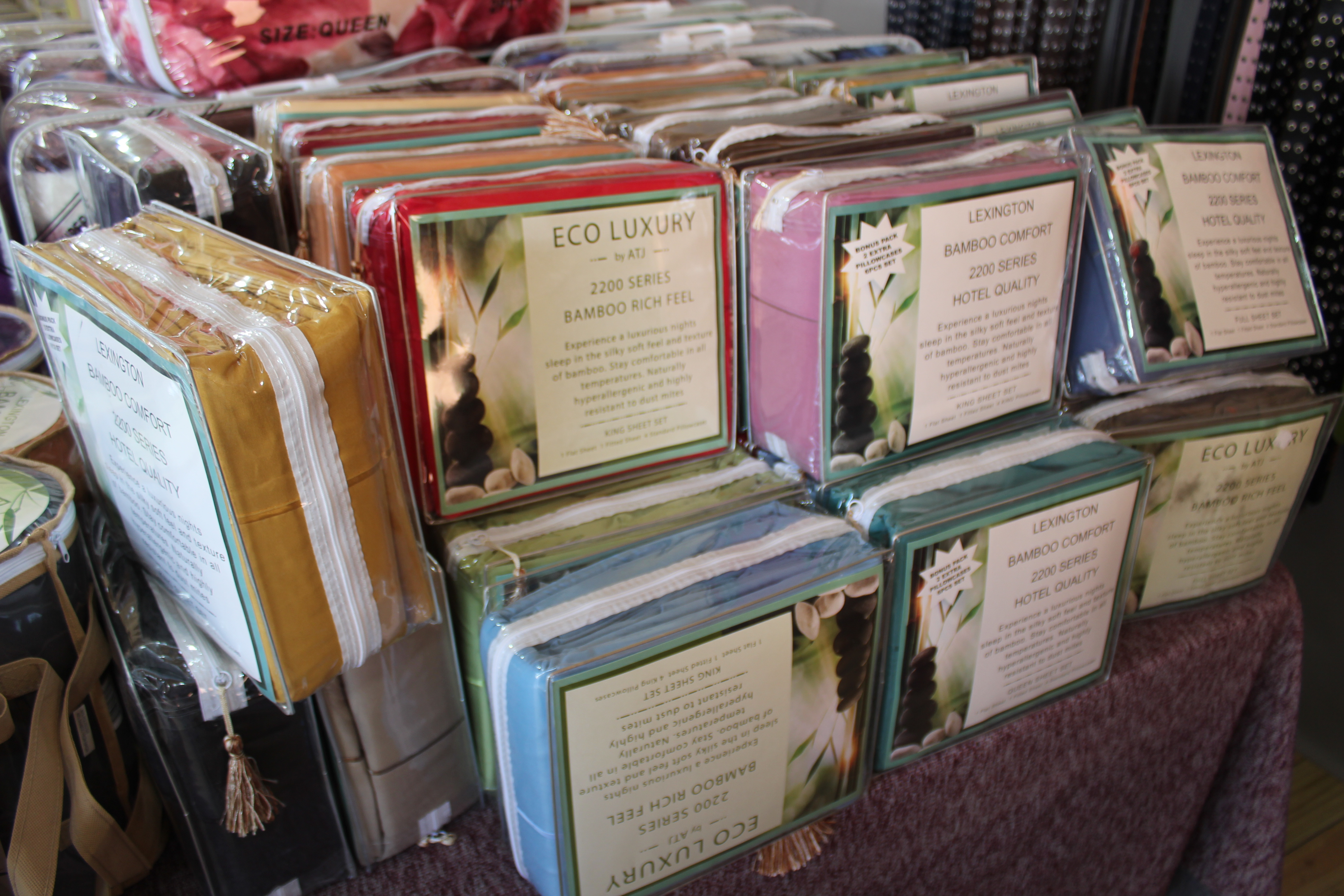 bamboo sheets at shipshewana flea market indiana