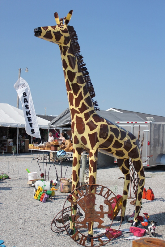 giant giraffe yard art at shipshewana flea market
