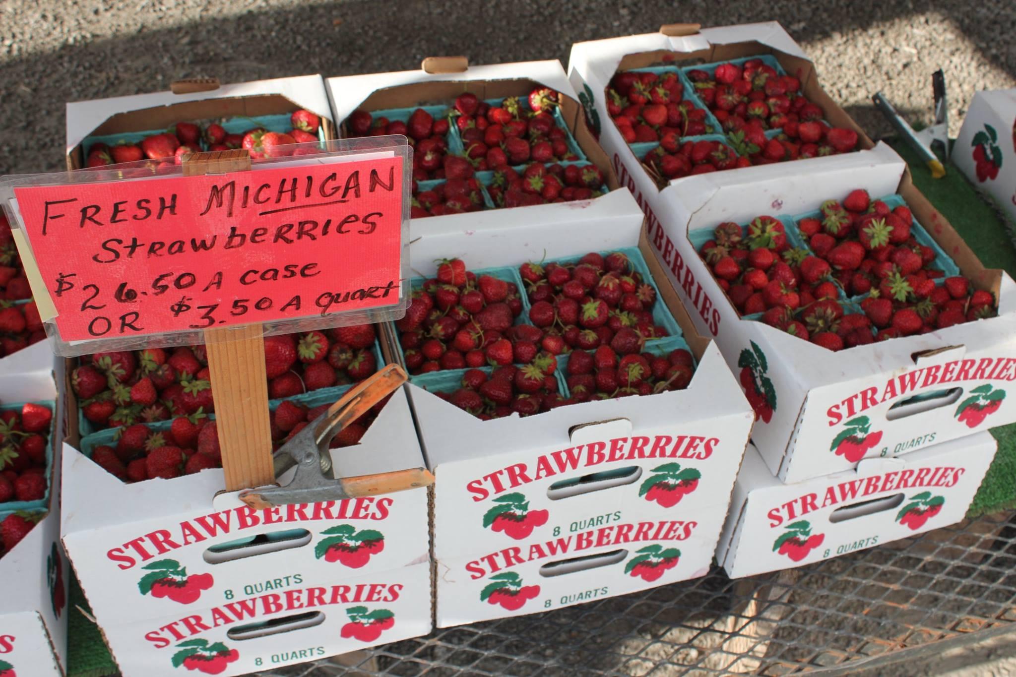 Local produce strawberries at Shipshewana Flea Market